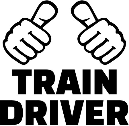 Train driver with thumbs. T-Shirt design.