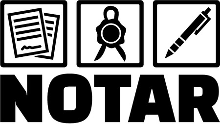 notary: German Notary with icons. Contract, seal and pen. Illustration
