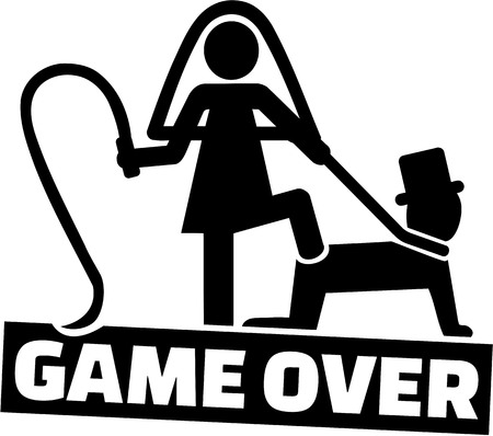 Wedding couple - game over for the man 免版税图像 - 70012244