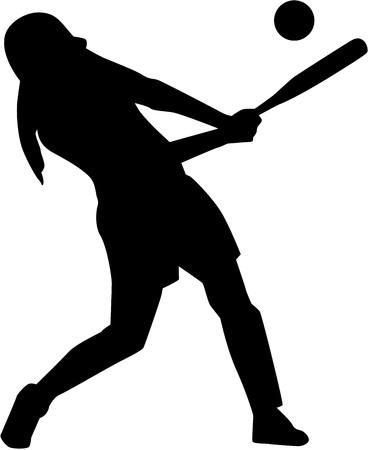 Softball batter woman silhouette 向量圖像