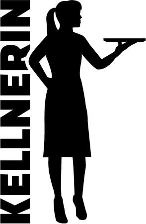 barmaid: Waitress with german job title Illustration