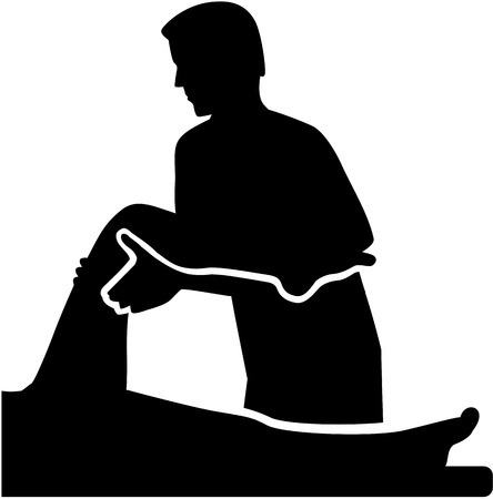 physiotherapist: Physical therapist with patient Illustration