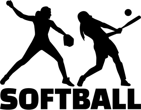 Softball silhouette set