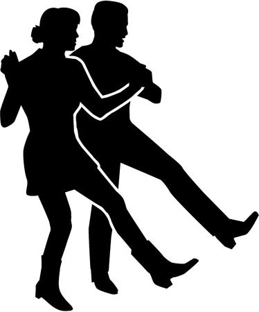 Line dancing couple 向量圖像