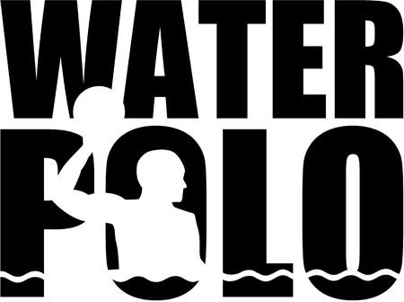 Waterpolo woord met silhouetknipsel