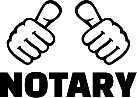 Notary with thumbs. T-Shirt design