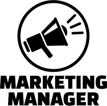 manager: Marketing manager with megaphone icon