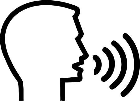 Icon with head speaking - Speech therapist Illustration