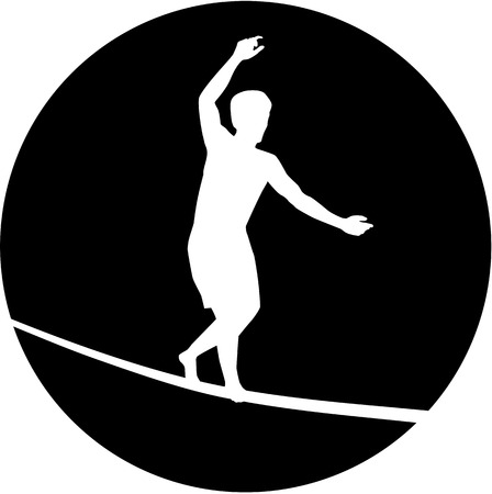 tightrope walker: Slackline silhouette in black circle Illustration
