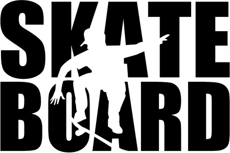 Skateboard word with silhouette 일러스트