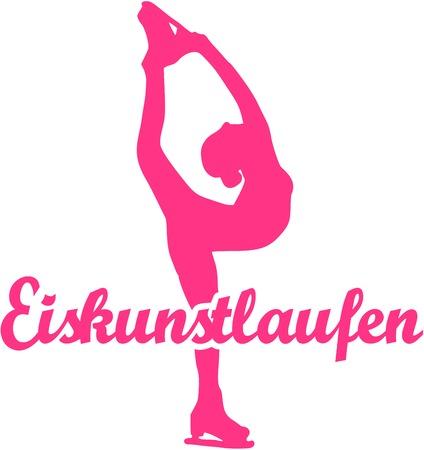 Figure Skating with silhouette and german word Illusztráció