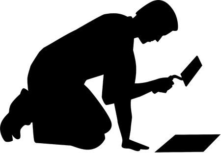 Tegelzetter met troffel silhouet Vector Illustratie