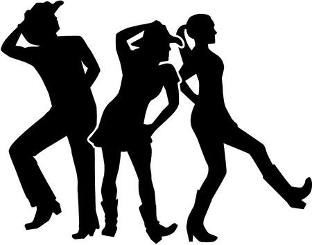 라인 댄스 그룹 일러스트
