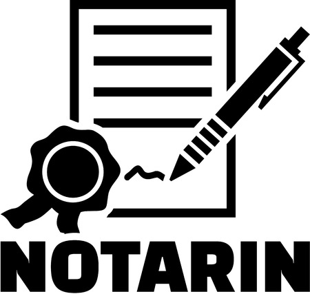 notary: Female notary with contract and pen. German