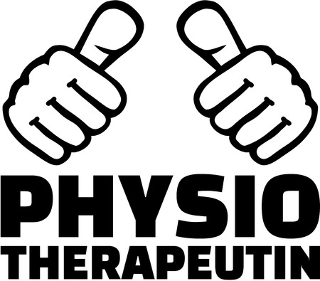 physiotherapist: Female physiotherapist with thumbs. German T-Shirt design.