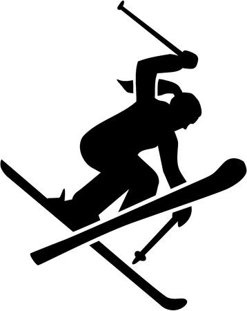 Femme de ski acrobatique Banque d'images - 70012700