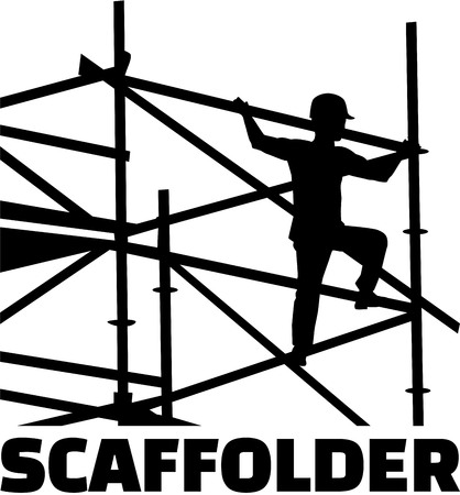 Scaffolder on the frame with job title