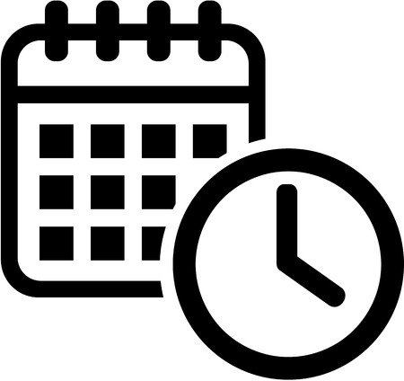 appointments: Calendar icon with clock. Meeting.