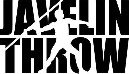 javelin: Javelin throw word with silhouette