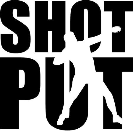 lanzamiento de bala: Lanzamiento de peso palabra con el recorte Vectores