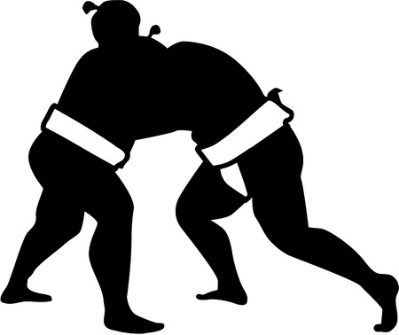 Sumo wrestling fight silhouette Illustration