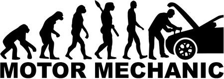 motor car: Evolution motor mechanic with car