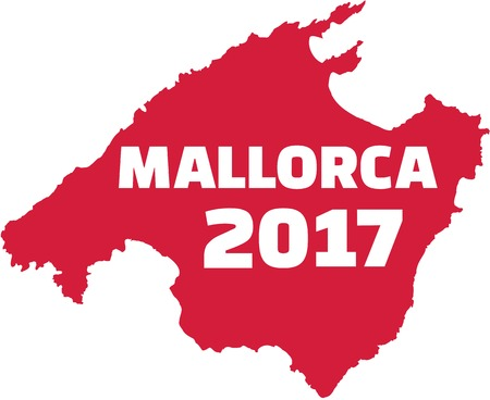 mallorca: Mallorca map with mallorca 2017 Illustration