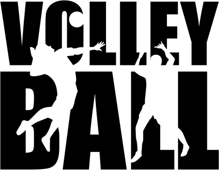 Volleyball word with cutout Vector Illustration