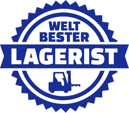 Worlds best Warehouse worker german button Illustration