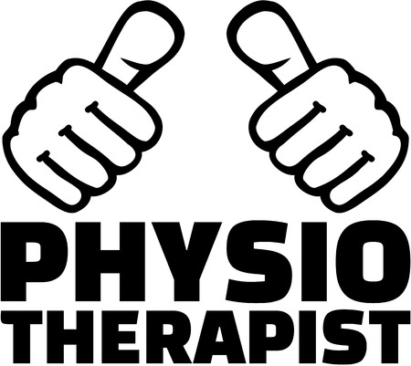 Physiotherapist with thumbs. T-Shirt design.