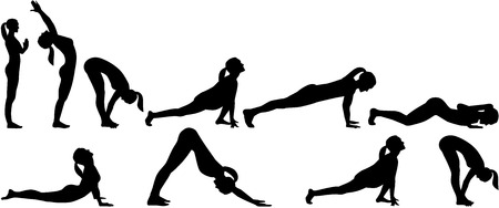 salutation: Yoga sun salutation - all positions in two rows