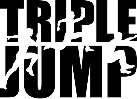 Triple jump word with silhouettes