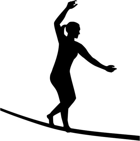 tightrope walker: Slacklining woman silhouette