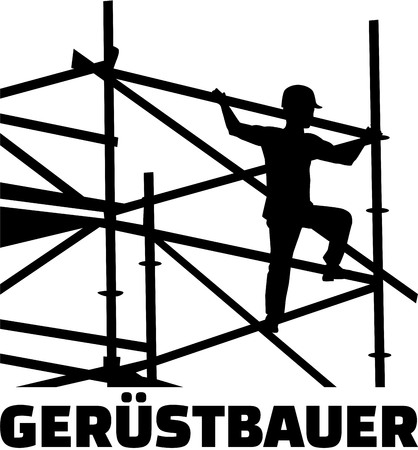 Scaffolder on the frame with german job title