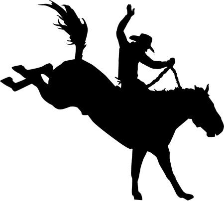 Rodeo cowboy op het paard Vector Illustratie