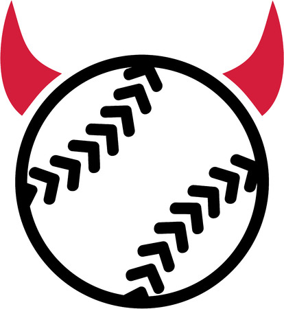 Softball with devil horns Illustration