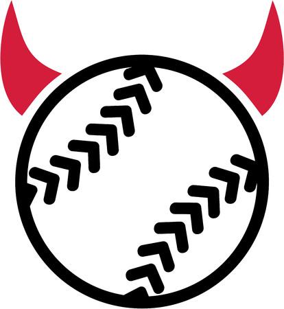 devil horns: Softball with devil horns Illustration