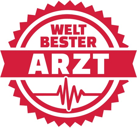World's best Doctor german emblem with Cardiac Frequence