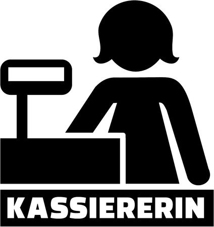 Cashier icon with german job title Ilustração