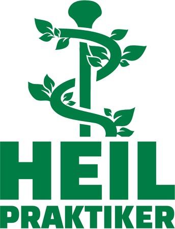 herbalist: Alternative Practitioner german job title with caduceus