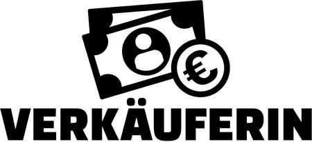 Saleswoman german job title with icon Ilustração