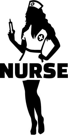Nurse silhouette wiht word