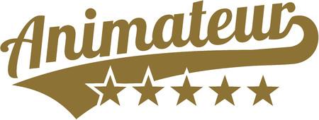 Mot animateur avec cinq étoiles d'or Vecteurs