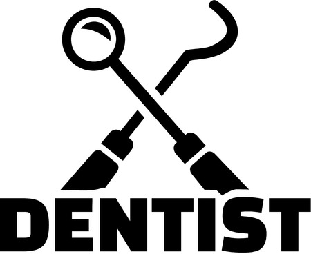 Dentist with crossed tools Ilustracja