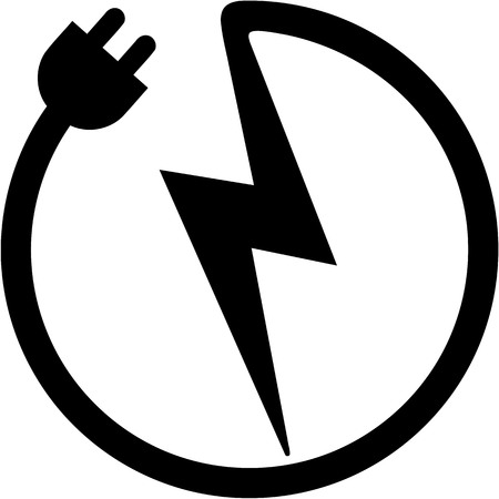 Icon with plug and bolt electrician Stock Illustratie