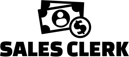 Sales clerk with money icons Ilustração