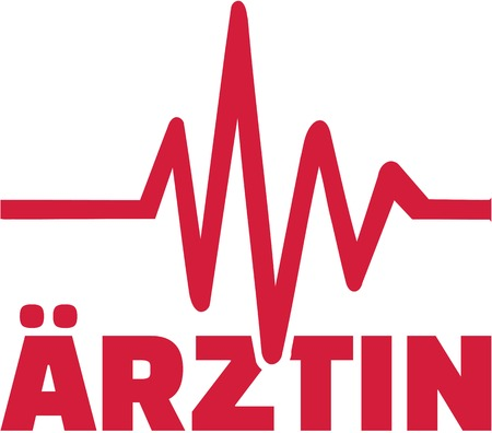 Female Doctor german job title with cardiac frequence Illustration