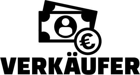 Salesman german job title with icon