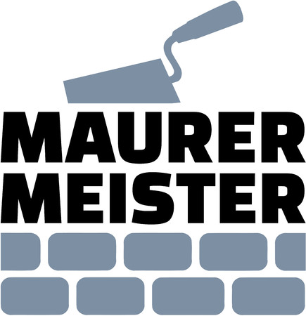 Mason master german with trowel and brick wall
