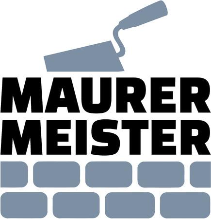 Mason-meester Duits met troffel en bakstenen muur Vector Illustratie